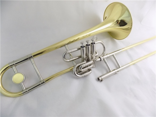 Bb Piston trombone with Case and double Mouthpiece Yellow brass musical instruments trombones Lacquer