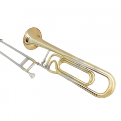 F/Bb Key Double Slide Trombone Brass musical Instruments Lacquer Silver trombone Copper Body with Foambody Case and mouthpiece