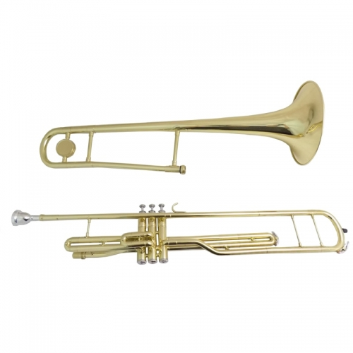 Bb Piston Trombone with case mouthpiece Musical Instruments Yellow Brass Trombones three pistons