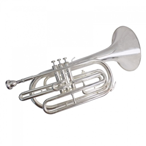 Bb Marching Trombone Musical instruments with Case Mouthpiece Silver plated Piston trombones Yellow brass Body