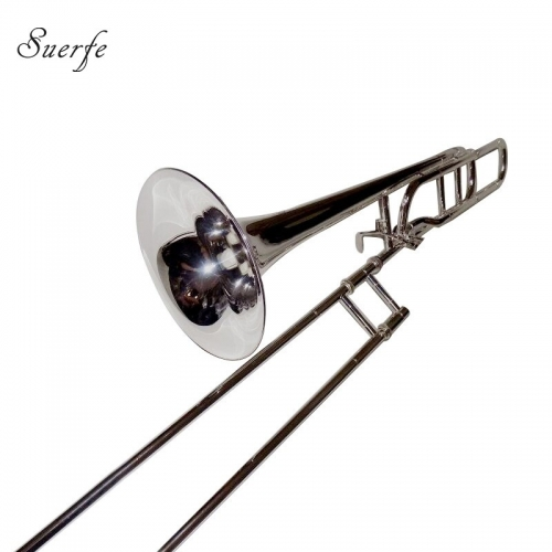 Bb/F Tenor Trombones Silver Plated Finish Brass Body with Case Professional trombone Musical Instruments