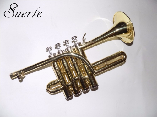 Free shipment Bb Piccolo trumpet musical instruments Yellow brass trumpets made in China