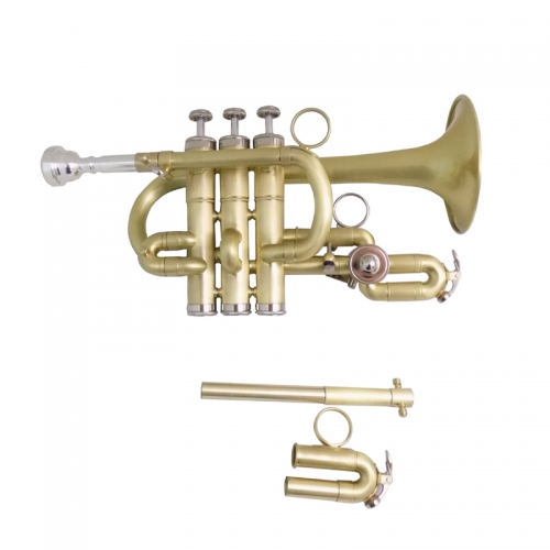 BbA Piccolo Trumpet musical instruments Stainless Steel Pistons trompete Brush Finish with Case