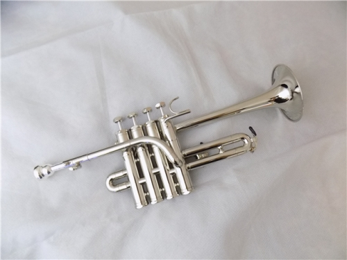 Free shipment Piccolo trumpet Silver plated Brass musical instruments made in China